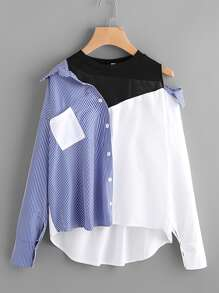 2 In 1 Spliced Stripe Asymmetrical Shirt