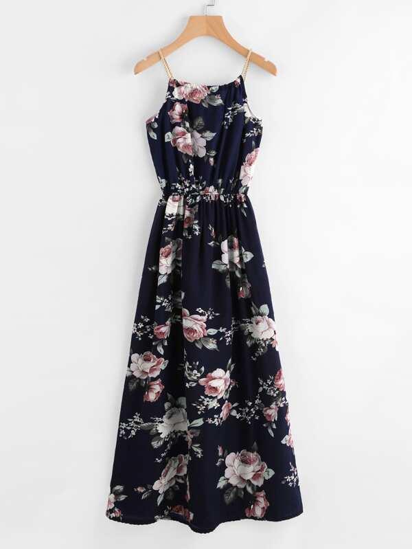 Cami Kleid mit Blumen und Kunstperlen Detail - German SheIn(Sheinside)