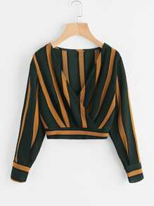 Striped Shirred Back Surplice Crop Top