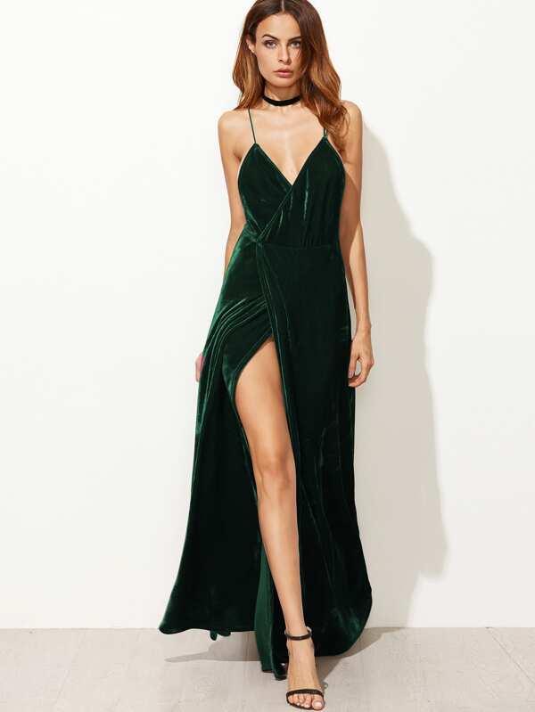 202c2fe81fb Strappy Backless Wrap Velvet Dress