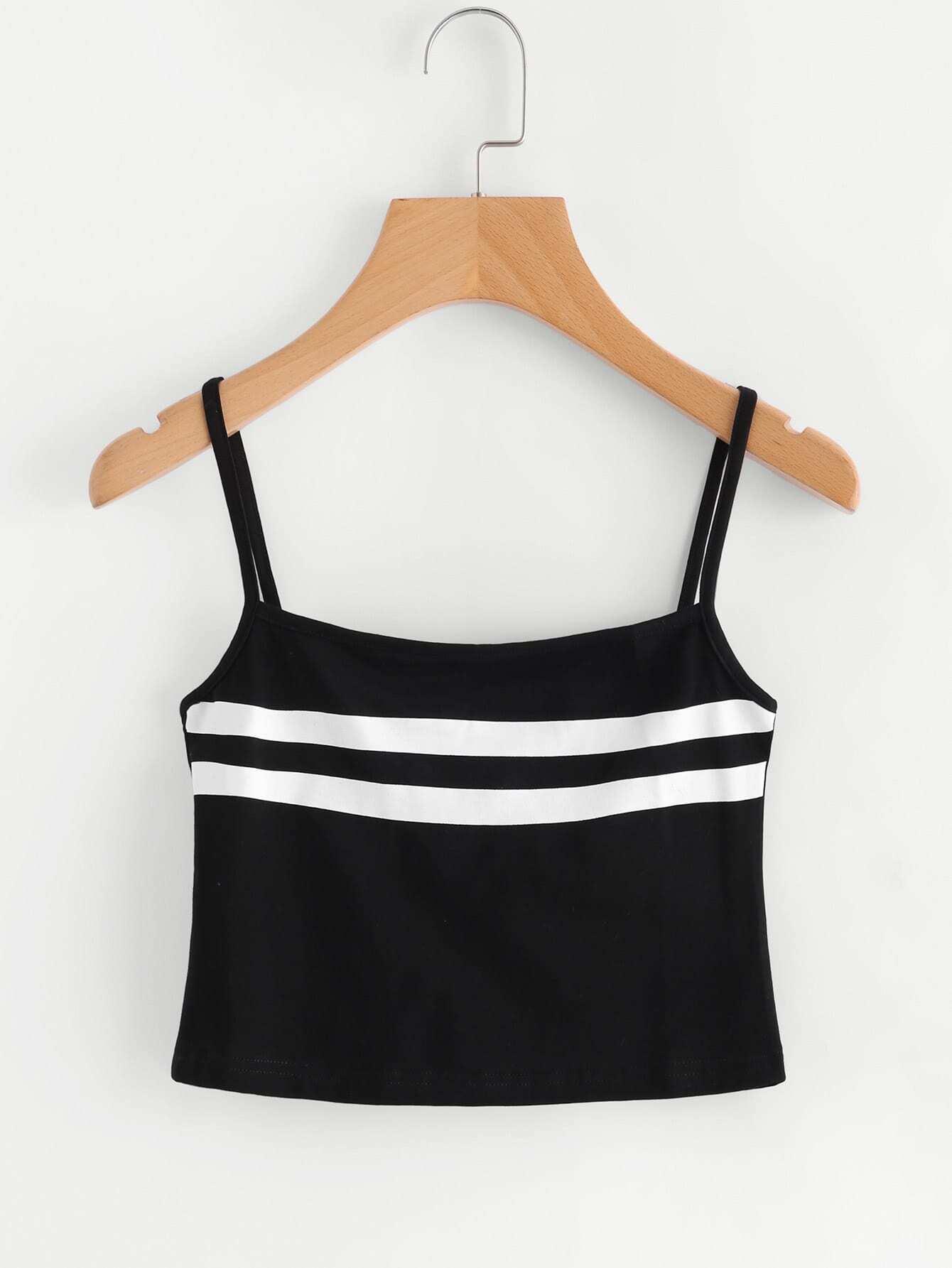 f287d97ce64 Varsity Striped Crop Cami Top EmmaCloth-Women Fast Fashion Online