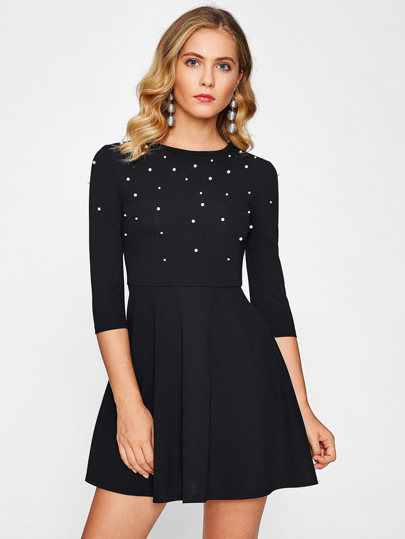 Faux Pearl Embellished Skater Dress