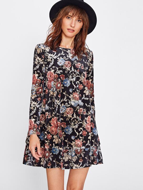 d280da8de1 Flower Print Swing Velvet Dress | SHEIN