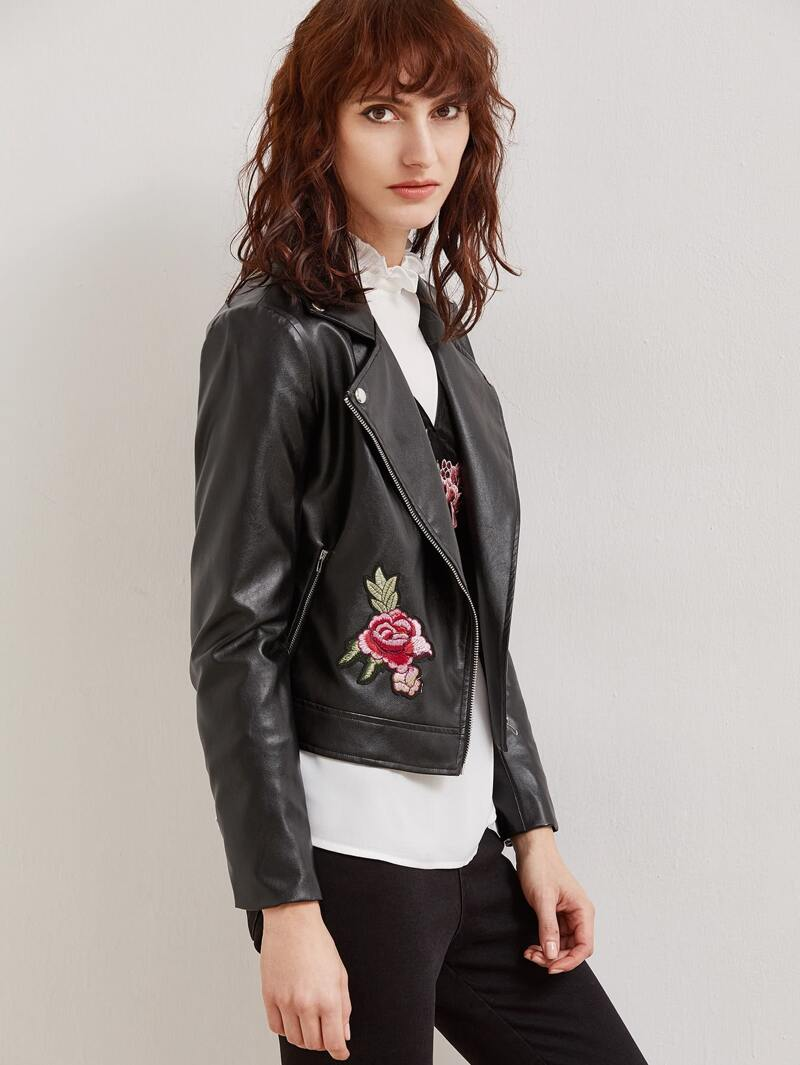 hot-selling clearance hot-selling latest buy cheap Black Faux Leather Embroidered Rose Applique Biker Jacket