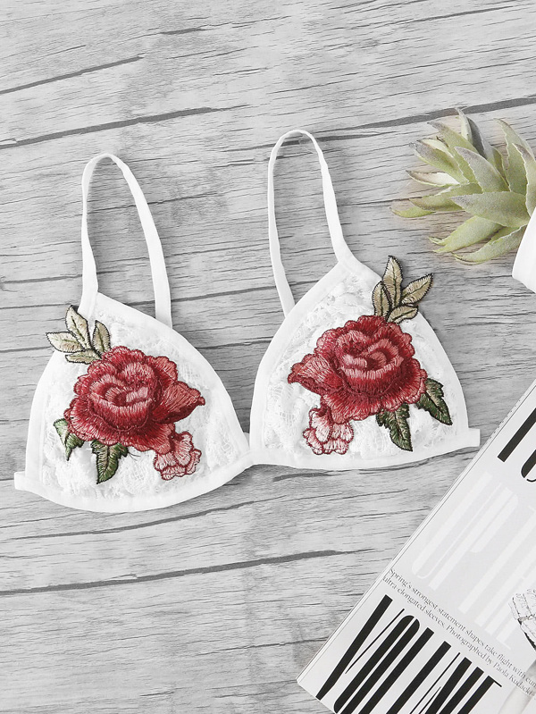 662e00f38d Rose Embroidery Triangle Bralette -SheIn(Sheinside)