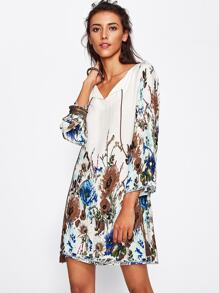 Botanical Print Tasseled Tie Neck Dress