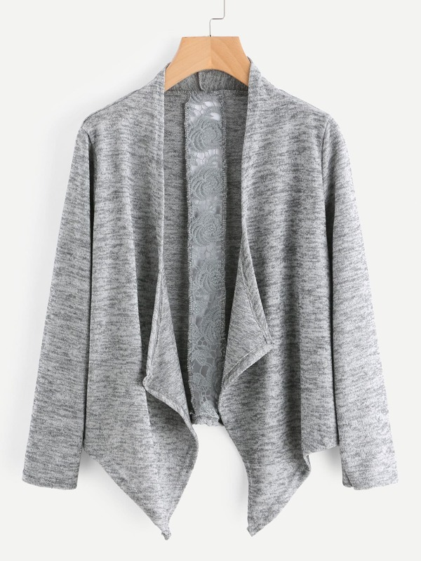 4988d9e351 Hollow Out Crochet Panel Marled Knit Cardigan | SHEIN