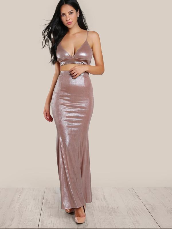 6a42b9bd8717d4 Triangle Crop Top   Matching Skirt Set BLUSH