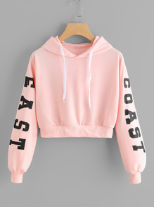Letters Graphic Crop Hoodie