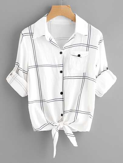 Roll Tab Sleeve Knot Front Grid Shirt