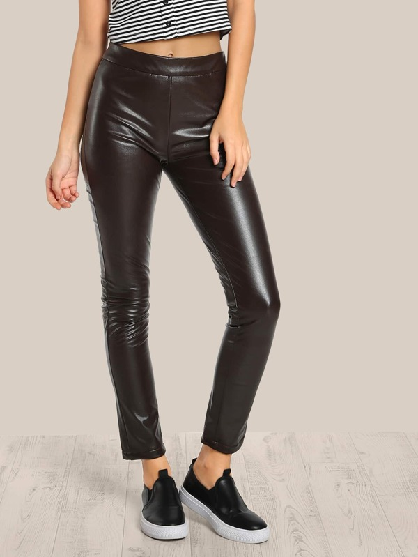 34a889ec90 Faux Leather Pants RED | SHEIN IN