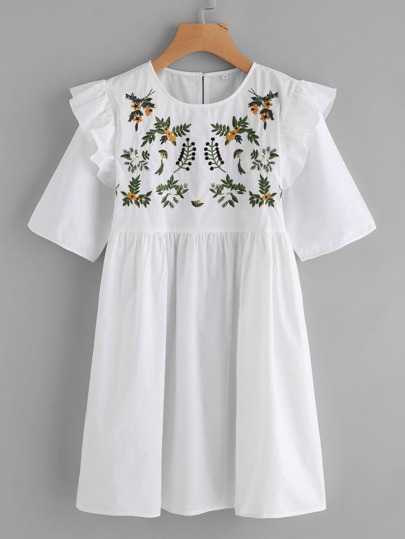 Ruffle Sleeve Embroidered Dress