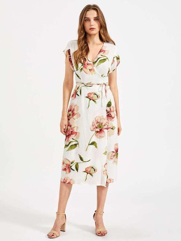 4d29ff4a70b Модное шифоновое платье с цветочным принтом