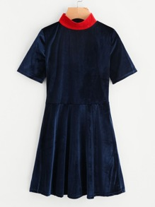Contrast Collar Swing Velvet Dress