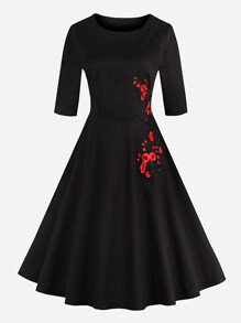 Embroidered Applique Flare Dress