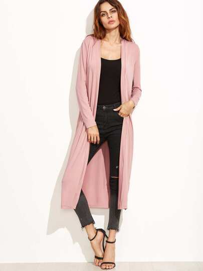 Pink Collarless Longline Duster Coat
