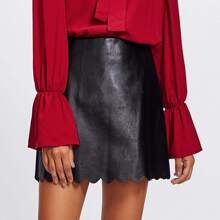 - Scallop Hem Faux Leather Skirt