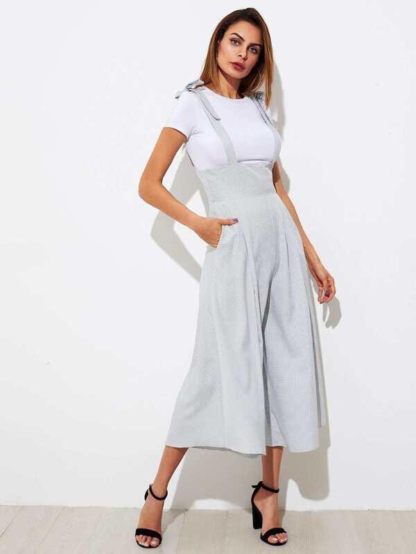 210f85e234f Tie Shoulder Gingham Wide Leg Jumpsuit -SheIn(Sheinside)