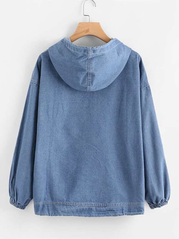 932f0ad9684 Drawstring Hood Kangaroo Pocket Denim Sweatshirt