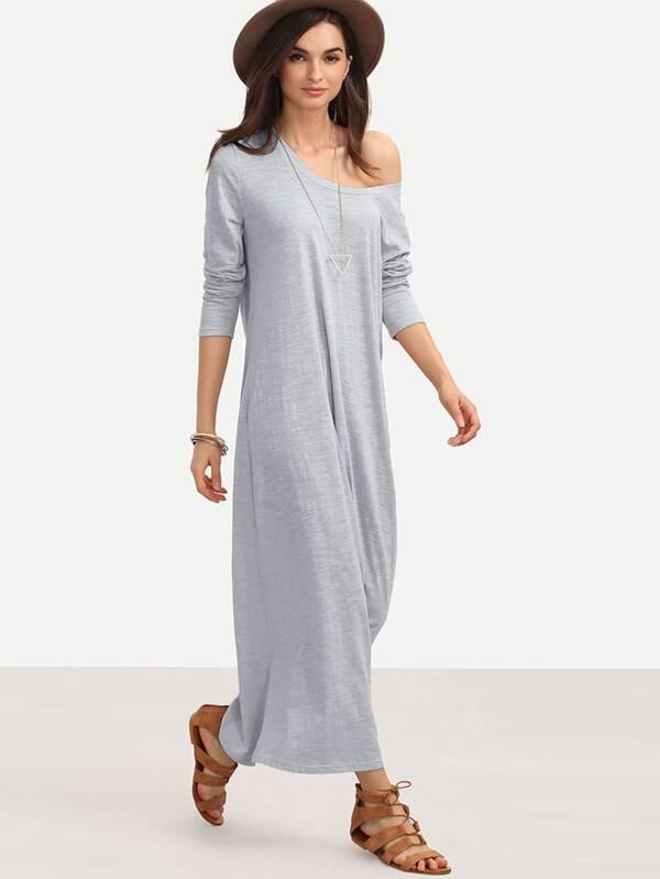 Full Length Slub Tee Dress by Shein