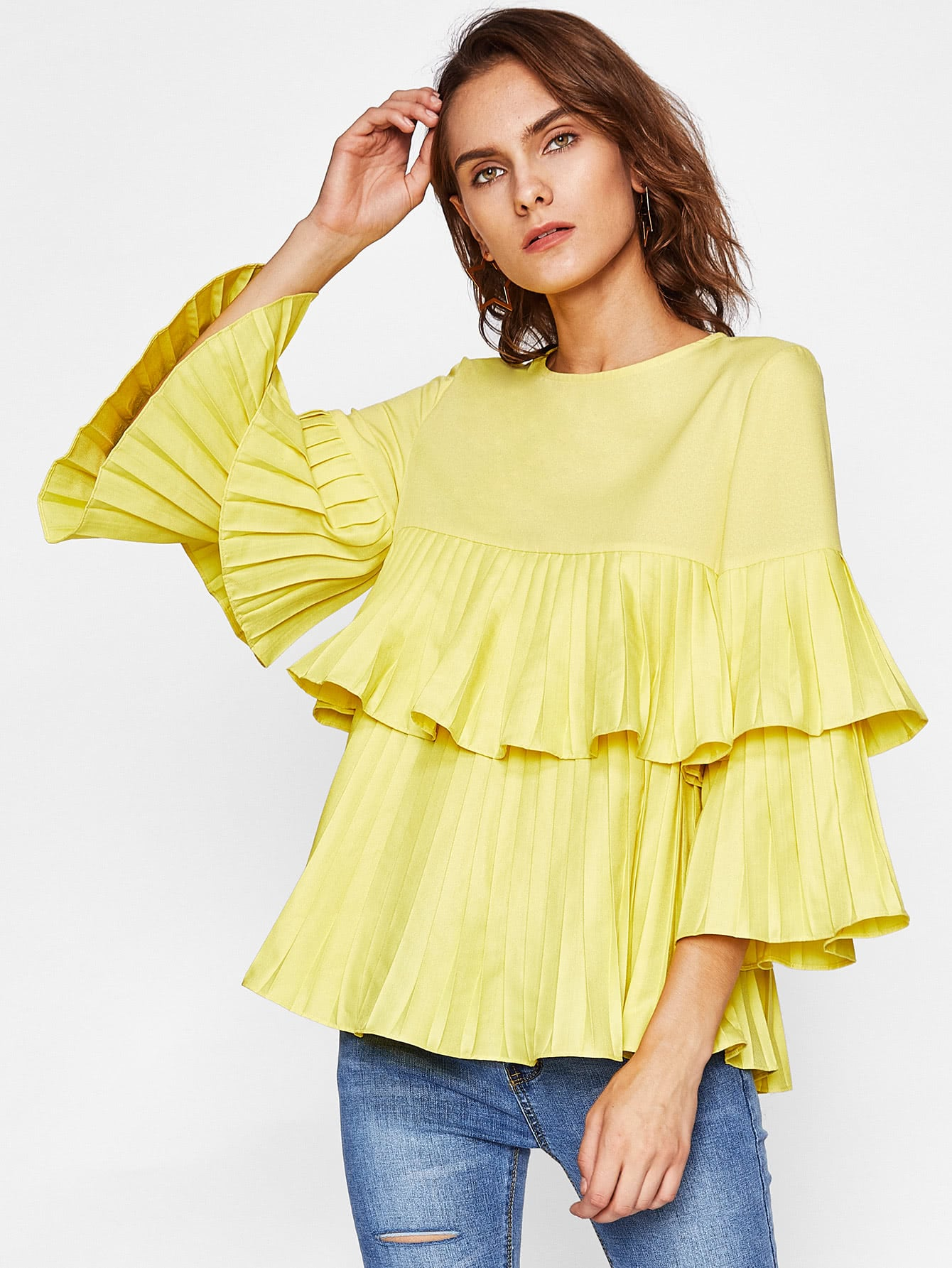 73f0d34232d34 Tiered Pleated Bell Sleeve And Flounce Blouse EmmaCloth-Women Fast ...