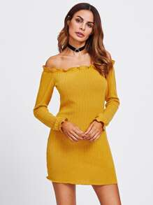 Lettuce Edge Trim Bardot Knit Dress