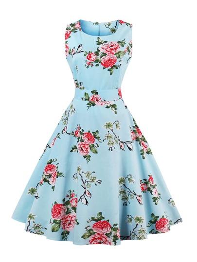 Kleid mit Blumen und Schleife hinten