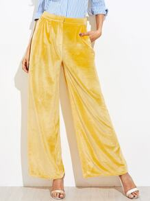 Pocket Side Velvet Palazzo Pants