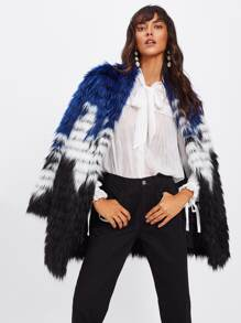 Color Block Faux Fur Open Front Coat