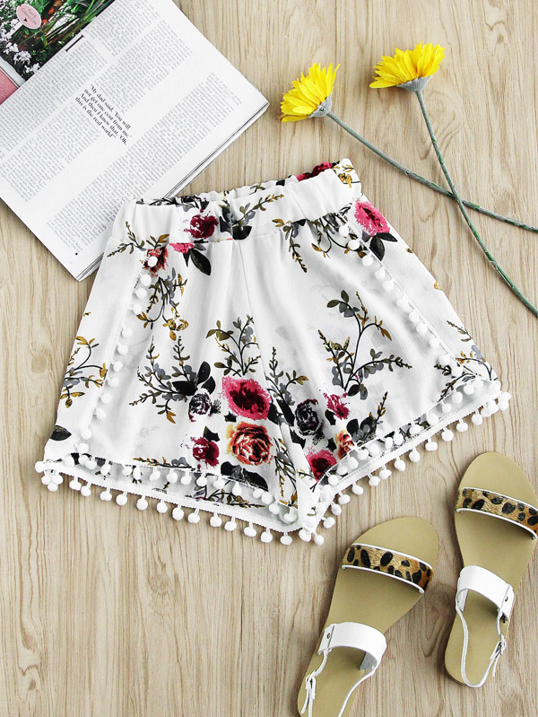 801884fa78 Floral Print Random Pom Pom Trim Shorts | SHEIN UK