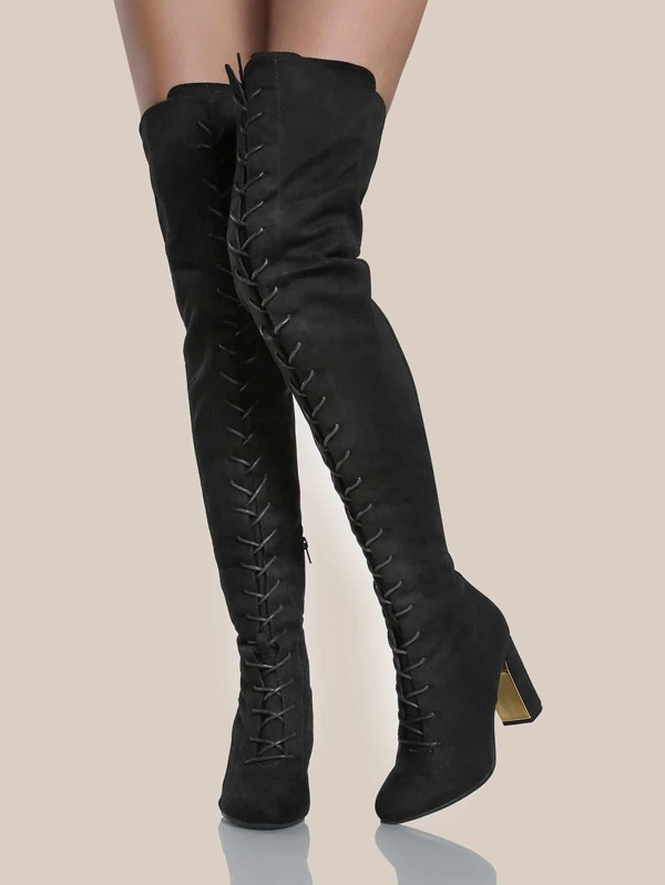 546c61b2f3 Faux Suede Gold Heel Thigh High Boots BLACK | SHEIN