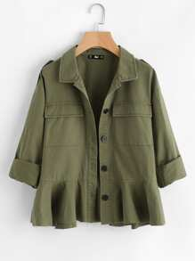 Dual Flap Pocket Ruffle Hem Jacket