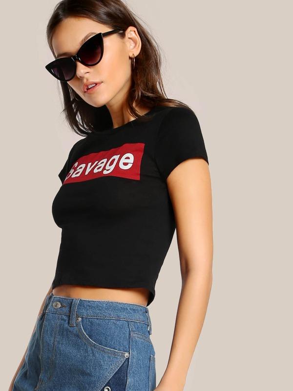4b90936ca1955 Savage Print Cap Sleeve Crop Top