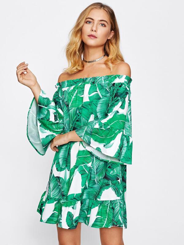 b42bbe39a4 Frill Off Shoulder Jungle Print Dress | SHEIN