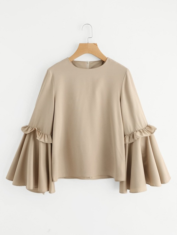 c32b10192c426 Frilled Bow Tie Trumpet Sleeve Top