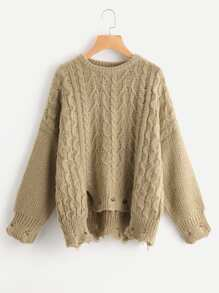 Cable Knit Raw Cut Stepped Hem Jumper