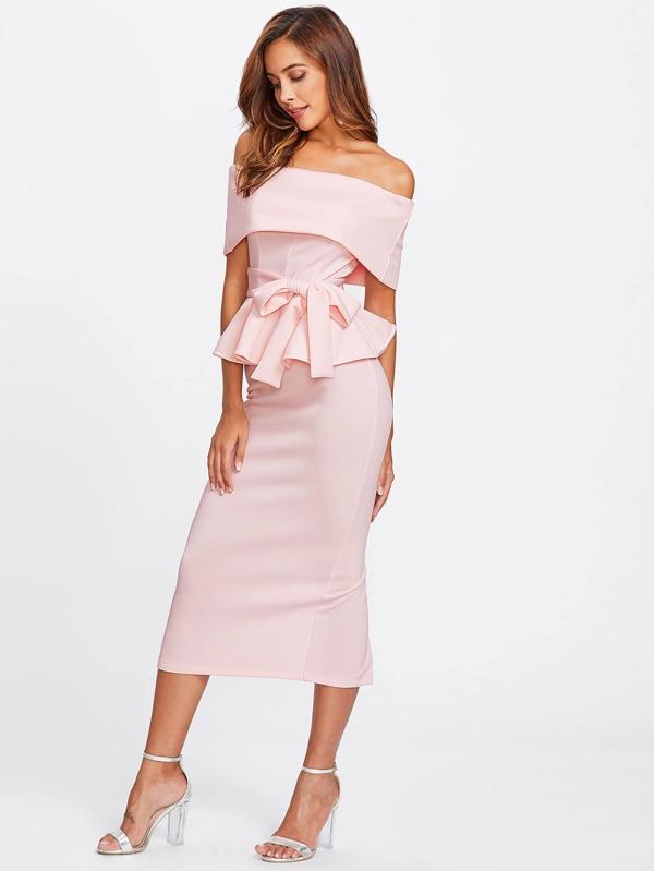 ad6ad68116 Foldover Bardot Peplum Top & Skirt Set | SHEIN UK