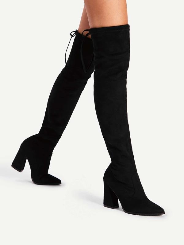 b413c332eb Lace Up Block Heeled Thigh High Boots   SHEIN UK