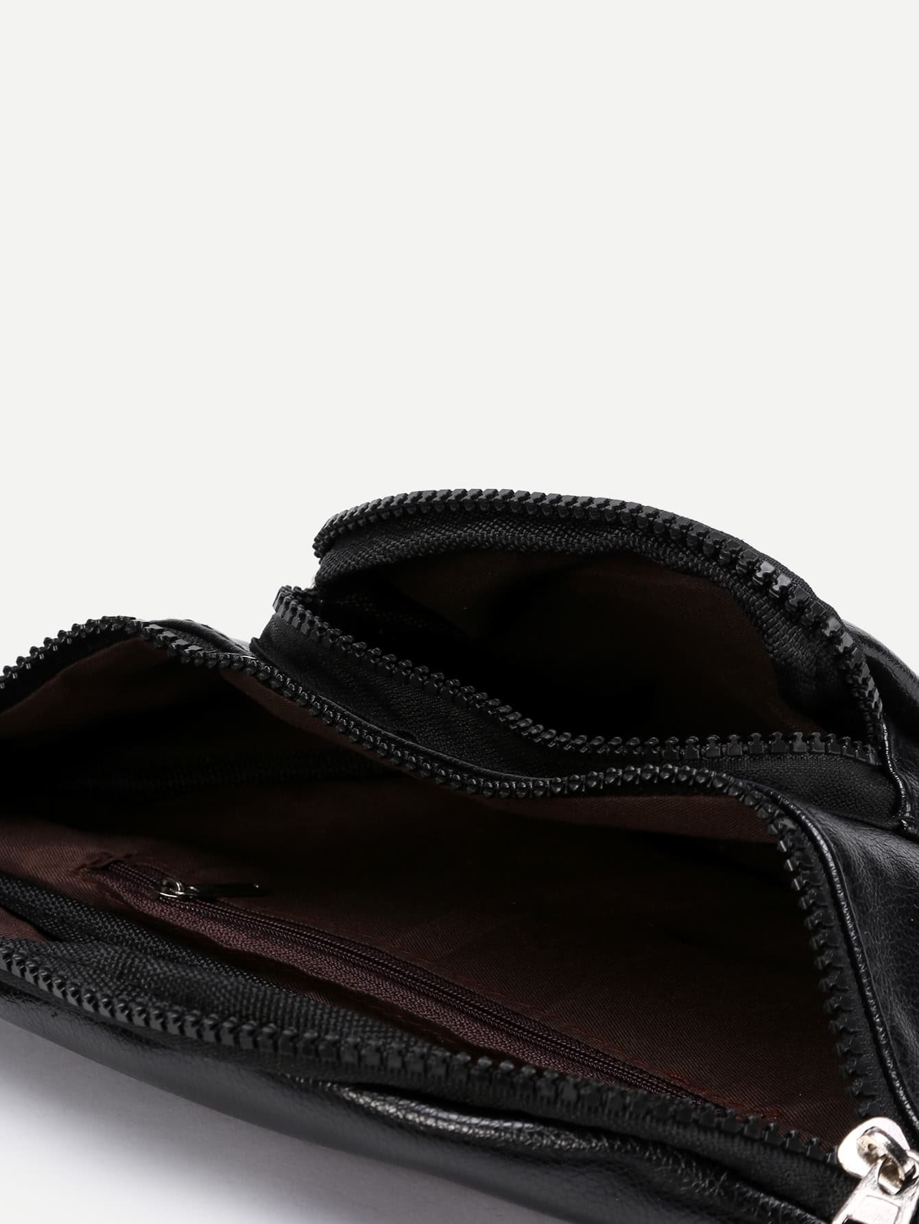 pu gammler tasche mit rei verschluss und tasche german shein sheinside. Black Bedroom Furniture Sets. Home Design Ideas