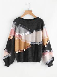 Sequin Decoration Contrast Sweater