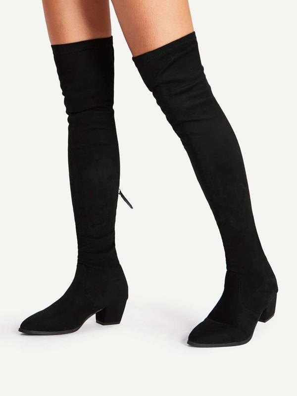 begehrte Auswahl an Wie findet man Vereinigte Staaten Oberschenkel hoch Stiefel mit Reißverschluss hinten und Block Heeled