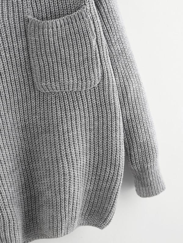 Suéter tejido doble escote V de espalda con cordón -Spanish SheIn ...