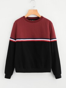 Striped Tape Detail Two Tone Sweatshirt
