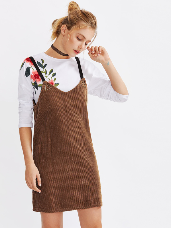 d1a6be6c9c6 Metal Triangle Detail Corduroy Overall Dress