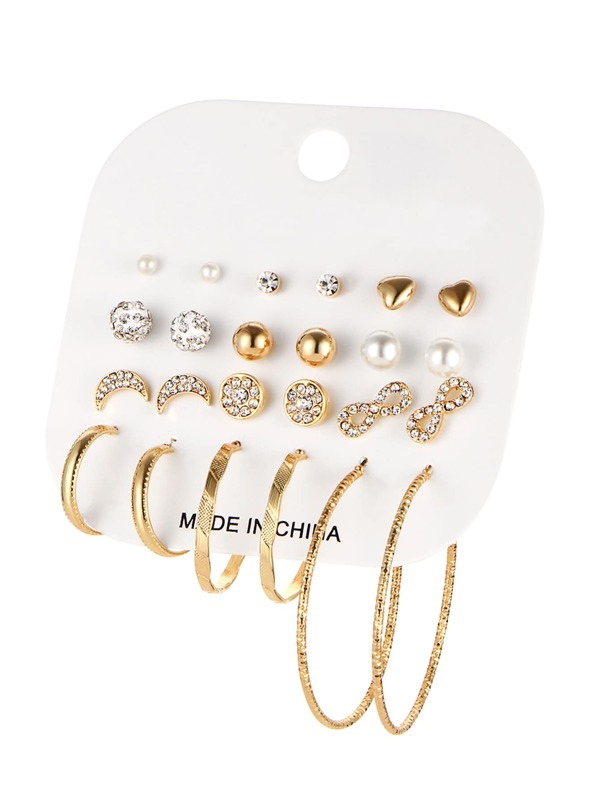 6bed9c5fb Cheap Rhinestone Stud Earrings & Hoop Earrings Set 12pairs for sale  Australia | SHEIN