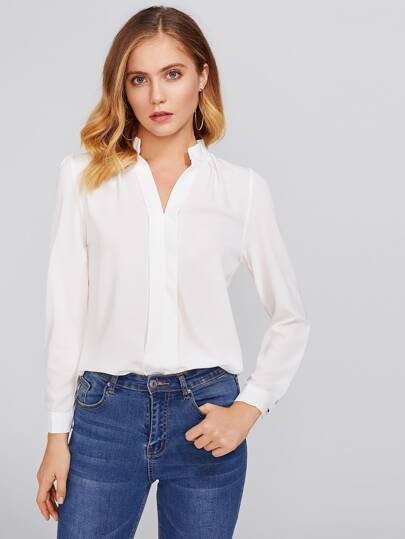 Stand Neck Pleated Detail Chiffon Shirt