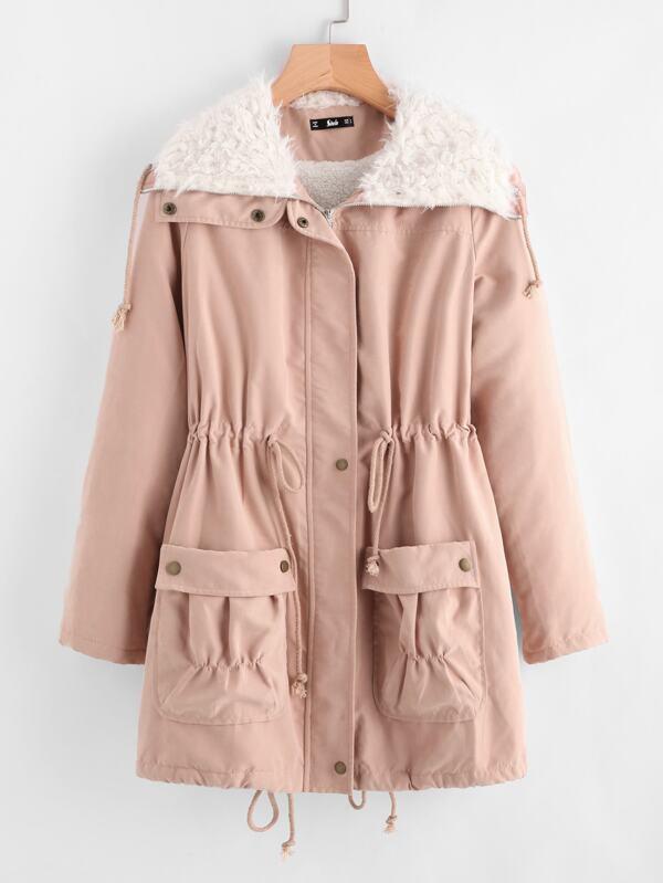 3f8a105cbf Fleece Lined Pocket Front Drawstring Parka Coat | SHEIN IN