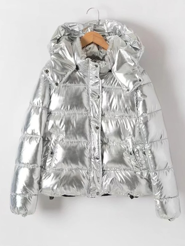 b266f1a0aa Metallic Quilted Puffer Coat With Hood | SHEIN