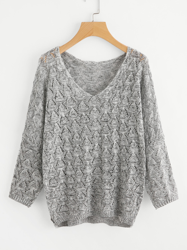 V Neckline Open Knit Sweater, Grey
