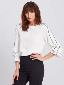 Tipping And Pearl Detail Raglan Sleeve Blouse